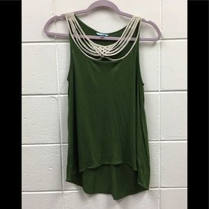 Anthropologie Leifnotes Hi Lo Olive Green Top